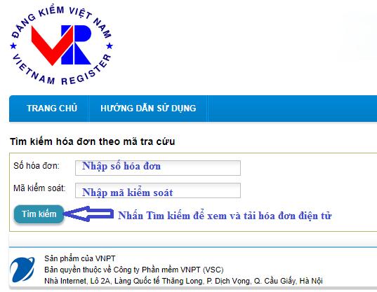 tra cứu hóa đơn điện tử đăng kiểm xe cơ giới 5004v